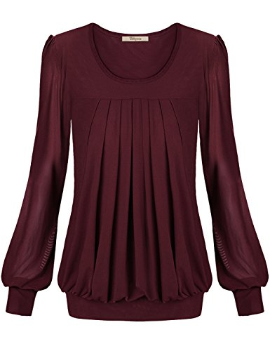 Women Clothing Tops, Bebonnie Womens Ladies Basic Jersey Fashion Peasant Banded Blouse T Shirts Tunic Top XXL Wine (Burgundy Tank Top Women compare prices)
