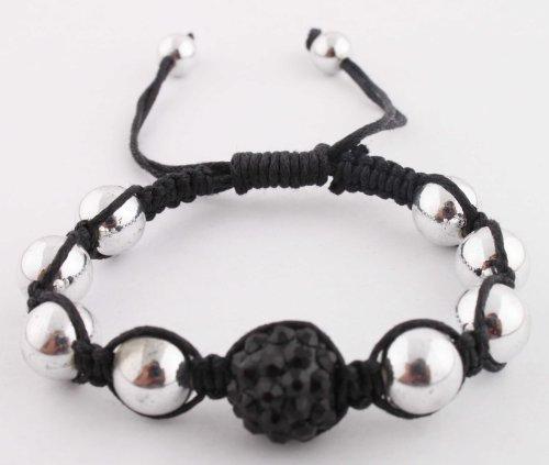 Silver with Jet Black Disco Ball Adjustable Bracelet Macrame Shamballah