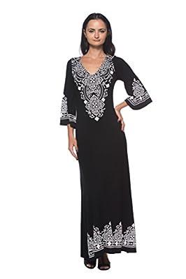 Women's Black V Neck Caftan Style Flared Sleeve Ethnic Design Long Maxi Dress