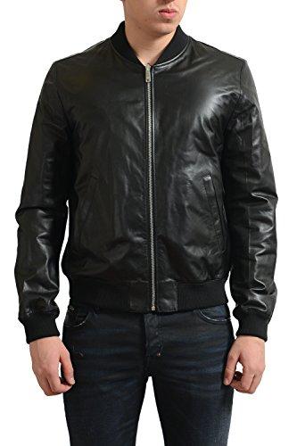 Prada Mens Black 100% Leather Reversible Bomber Jacket US S IT 48