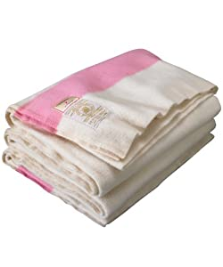Hudson Bay Blankets - 6 Point Queen Size Wool Blanket - Pink Stripe