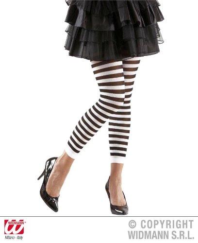 Ringel Leggings Gestreifte Legging schwarz-weiß Ringelleggings Kostüm Zubehör Damenleggings Fasching Karneval