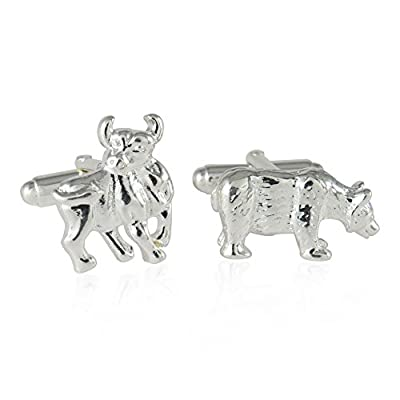 Cuff-Daddy Solid 925 Sterling Silver Bull and Bear Cufflinks