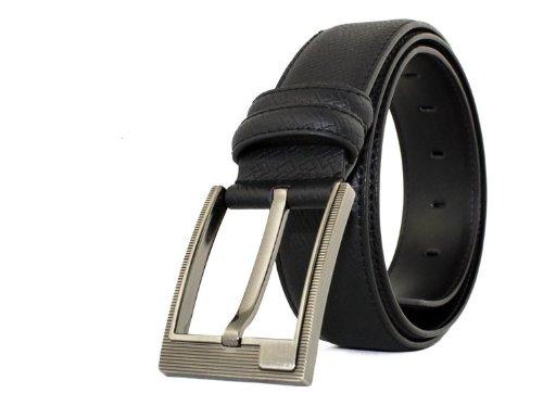 CA Men's Square Shape Pin Buckle Cowskin Belt Color Black Size Medium