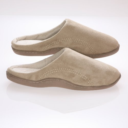 Mens Memory Foam Slippers - Beige Suede Micro Fleece Slippers with Side Stitches - 11-12
