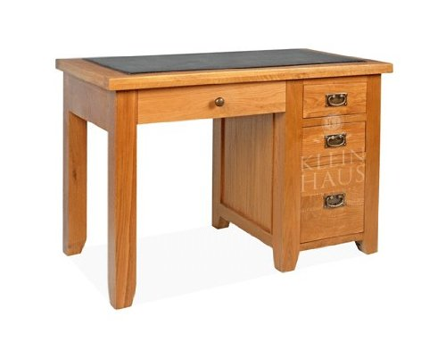 Oak Furniture - Oak Desk -Single Office Desk with 3 Drawers and Pull-Out Keyboard Shelf - Sherwood Oak - This Luxury Oak Office Furniture is Handmade from American White Oak by Klein Haus. This product comes with Stylish Interchangeable Metal and Wood Han