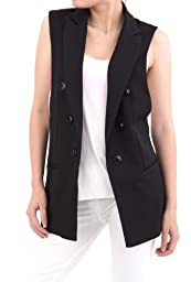 ELLAZHU Women Baggy Sleeveless Turndown Collar Long Suit Vest CZ84 Black L
