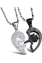 His & Hers Matching Set Titanium Open Your Heart I Love You Key and Lock Couple Pendant Necklace Korean Love Style Anniversary/engagement/promise Symbol in a Gift Box