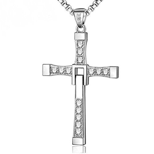 The Starry Night Unisex Sterling Silver Passion Folding Diamond Accented Cross Pendant Deluxe Necklace