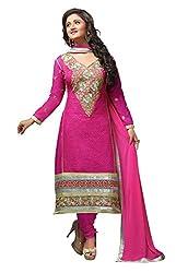 Pink Color Cotton Embroidered Churidar Salwar Suit Unstitched Dress Materials