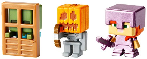 Minecraft-Mini-Figure-3-Pack-Alex-with-Enchanted-Armor-Skeleton-with-Pumpkin-Armor-Zombie-At-Door