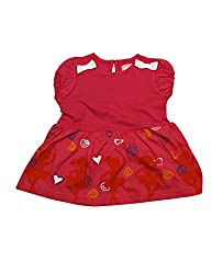 Juscubs Printed ballet aand heart frock with 3D bow at the shoulder