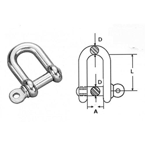 Grillo 10mm in acciaio inox 316 (A4) D Dimensioni confezione: 1