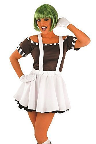 Ladies 5pc Sexy Oompa Loompa Worker Costume. Sizes 12 to 22