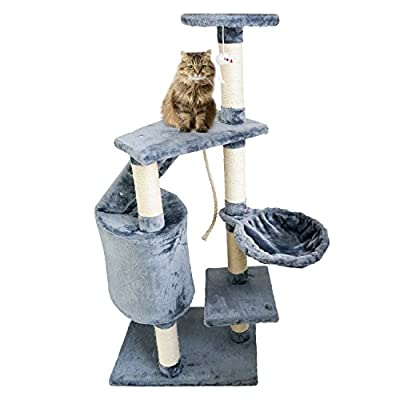 Cat tree with grey scratching post - Scratching post made of natural sisal