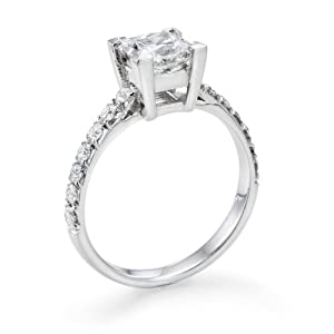 Diamond Engagement Ring in 18K Gold / White Certified, Princess, 1.25 Carat, J Color, SI1 Clarity