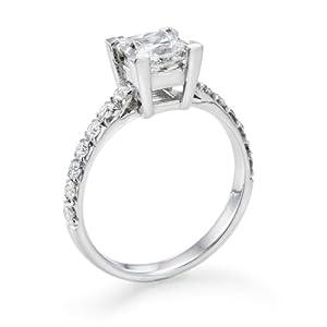 Diamant Ring 1.80 Ct W H/SI2 Princess 18 Karat (750) Weißgold (Ringgröße 48-63)
