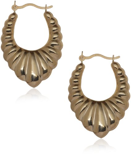 9ct Gold Pointed Creole Earrings