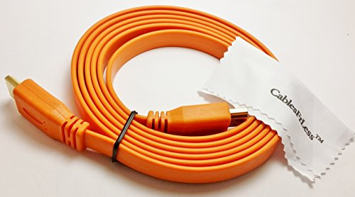 Cablesfrless Flat High Speed Ultra Hd 4K Hdmi Cable Supports 3D , Ethernet And Audio Return Channel (5Ft Orange)