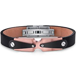 Revoni Mens Stainless Steel And Leather Bracelet With Industrial Black And Rose Gold Accents from Revoni
