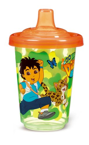 Munchkin 3 Pack Re-Usable Twist Tight Spill-Proof Cups, Go Diego Go, 10 Ounce, Colors May Vary
