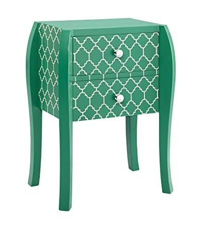 Luxury Home Quatrofoil Bombe End Table, Green