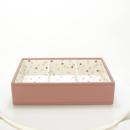 Pink Deep Stacker Jewellery Box with 3 Compartments and Polka Dot Lining