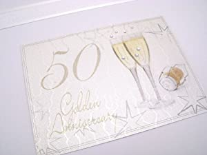 White Cotton Cards Golden Anniversary Keepsake Box, Large, Champs Glasses