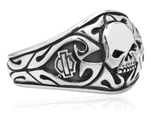 Harley-Davidson .925 Silver Carved Skull Signet Ring (13)