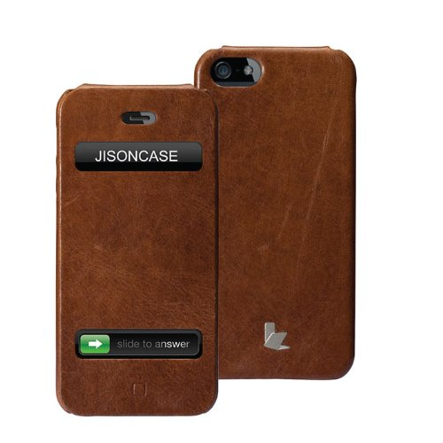Special Sale Jisoncase Executive Genuine Leather Flip Case for iPhone 5, JS-IP5-002B-Brown