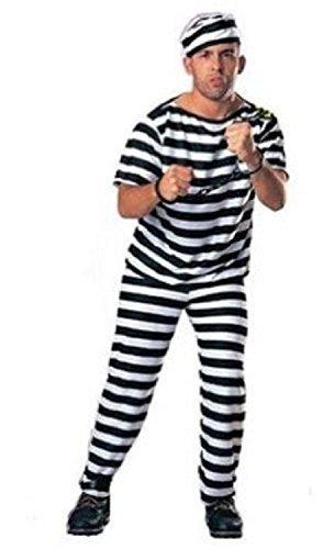 囚人服 衣装3点セット (帽子・服・ズボン) コスチューム メンズ フリーサイズ