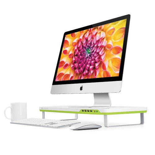 Satechi F1 Smart Monitor Stand With Four Usb Ports And Headphone / Microphone Extension Ports (White)