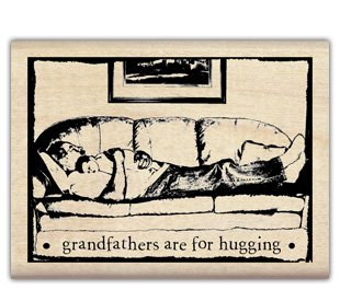 Rubber Stamp With Wood Handle-tin Can Mail Grandfather Hug - 1