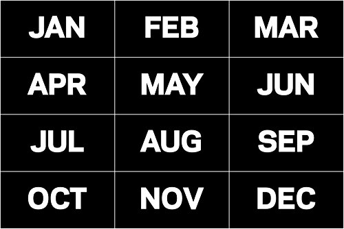 MasterVision Months of the Year Magnets, 1 x 2 Inches Each, 12 Magnets, Black/White (FM1108)