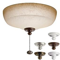 Kichler Lighting 338153MUL Universal Fluorescent Large Bowl 3LT Ceiling Fan Light Kit, Pine Bark Glass Shade
