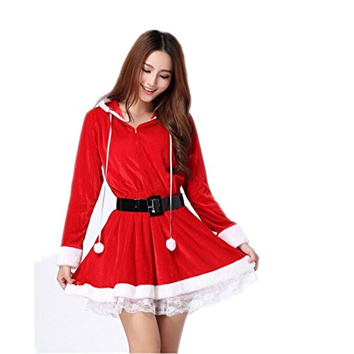 Partiss Women Christmas Red Santa Claus Outfit Dress