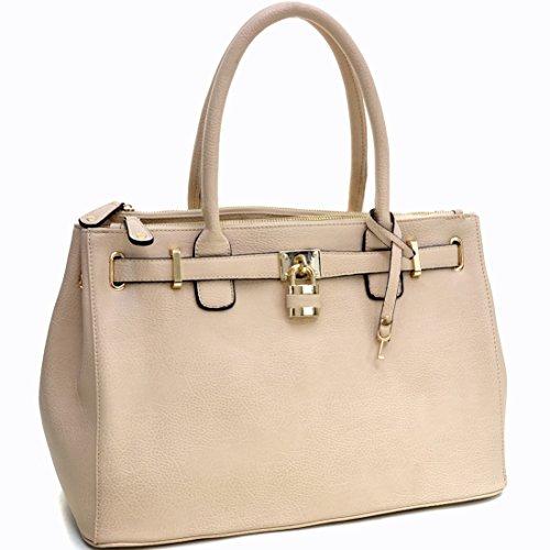 Dasein-Faux-Leather-Padlock-Structured-Briefcase-Satchel-Handbag-Tablet-iPad-Bag