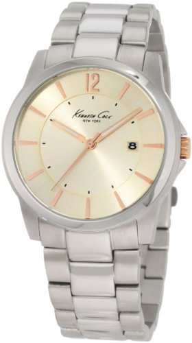 Kenneth Cole Men's Quartz Watch with Beige Dial Analogue Display and Silver Stainless Steel Bracelet KC3960