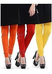 BULLY Women's Cotton Lycra Leggings combo of 3 (MPJLEG-40)