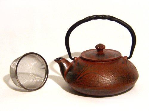 Mahamosa Burgundy/Red Dragonfly And Bamboo Design Cast Iron Infuser Teapot (Tea Pot)