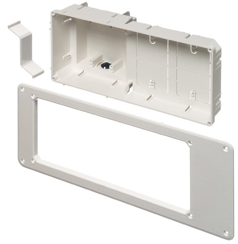 Arlington TVB613-1 Recessed TV Outlet Box with Paintable Trim Plate, White, 4-Gang (Media Panel With Cover compare prices)