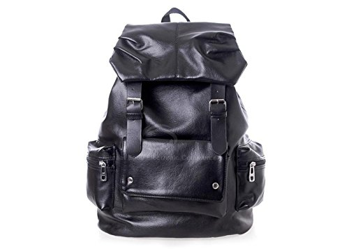 Casual Stylish Men'S Backpack With Solid Color And Pockets Belt Design