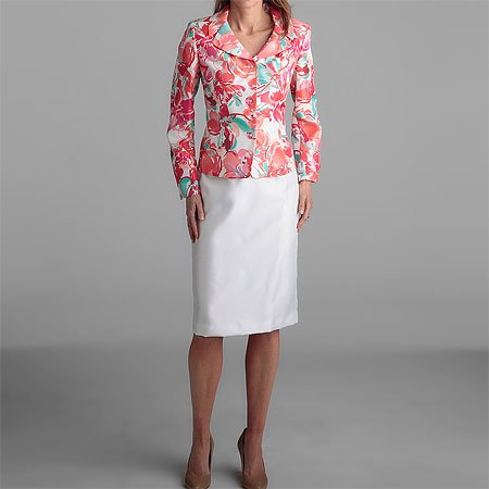 Le Suit 3-Button Pink Print Skirt Suit