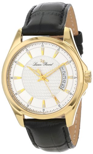 Lucien Piccard Men's 98660-YG-02S Excalibur Silver Textured Dial Black Leather Watch