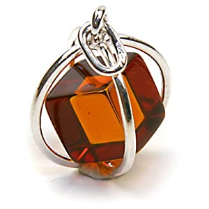 millennium collection sterling silver spherical pendant with certified genuine honey amber cube