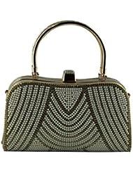 Designer Golden Bridal Handbag With Pearl & Stone Work