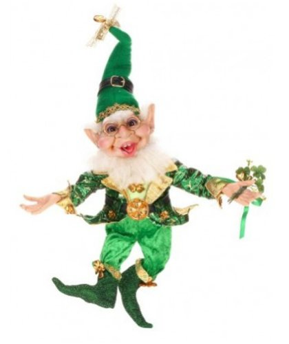 Mark Roberts Elves, Shamrock Elf, Large 16.5 Inches, Packaged with a Tropical Magnet Featuring