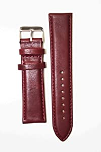 22mm Burgundy Oil-Tanned Calfskin Leather Watchband with Heavy Buckle