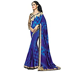 Vishal Blue Georgette Embroidery work on Saree and Blouse Saree