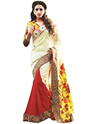 Exotic India Tri Color Sari With Patch Border And Flor - Multi-Coloured